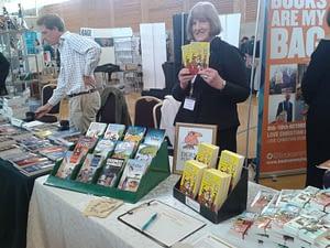 Eleanor Watkins holding the Beech Bank Girls books