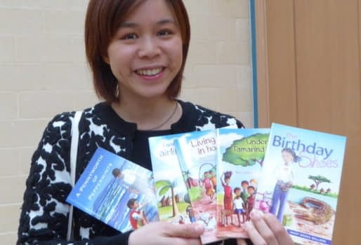 Lady with Christian children's books