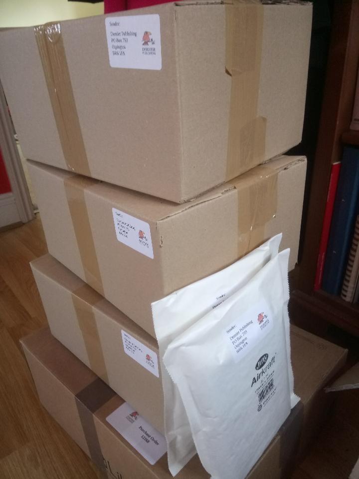 Boxes of Dernier Publishing books